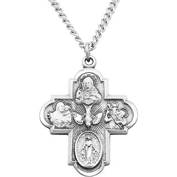 Jewel Tie Sterling Silver /& Gold-tone 4-Way Medal Cross Pendant