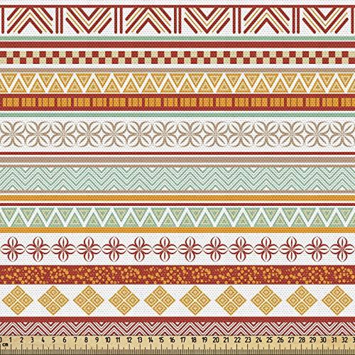 ABAKUHAUS Tribal Tela por Metro, Rayado Con El Arte, Decorativa para Tapicería y Textiles del Hogar, 1M (148x100cm), Caléndula Rojo Y Bronceado