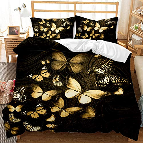 3D Black Bronzing Butterfly Bedding Set Of 12 Pieces, Super Soft, Comfortable, Non-Fading Lightweight Duvet Cover For King And Queen, Used For Bedroom Home Textiles For Double Bed And Single Bed