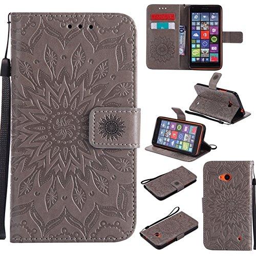Custodia protettiva a portafoglio in pelle PU con motivo floreale con stampa di sole e slot per carte di credito, compatibile con Nokia Lumia 640 N640 (colore: grigio)
