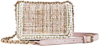 Tassel Beaded Chain Bag Single Shoulder Crossbody Envelope Bag (Khaki with Pink) Girls Handbag