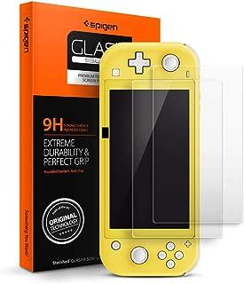 Spigen 【2枚入】 Nintendo Switch Lite 保護フィルム 5.5インチ用 日本製素材旭硝子製 強化ガラス ニンテンドースイッチライト ガラスフィルム 硬度9H 撥油加工 気泡ゼロ 飛散防止 (Glas.tR SLIM) (AGL00219)