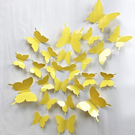 Yellow flowers Butterfly Wall Stickers Art Decal Vinyl Paper Mural Home Decor