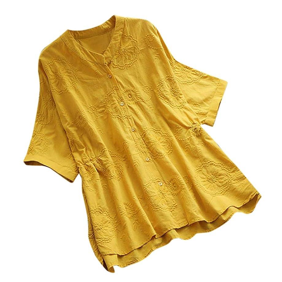 Eaktool Tank Tops for Women,Women Vintage Embroidery Casual Button Long Sleeve Linen Top T-Shirt Blouse