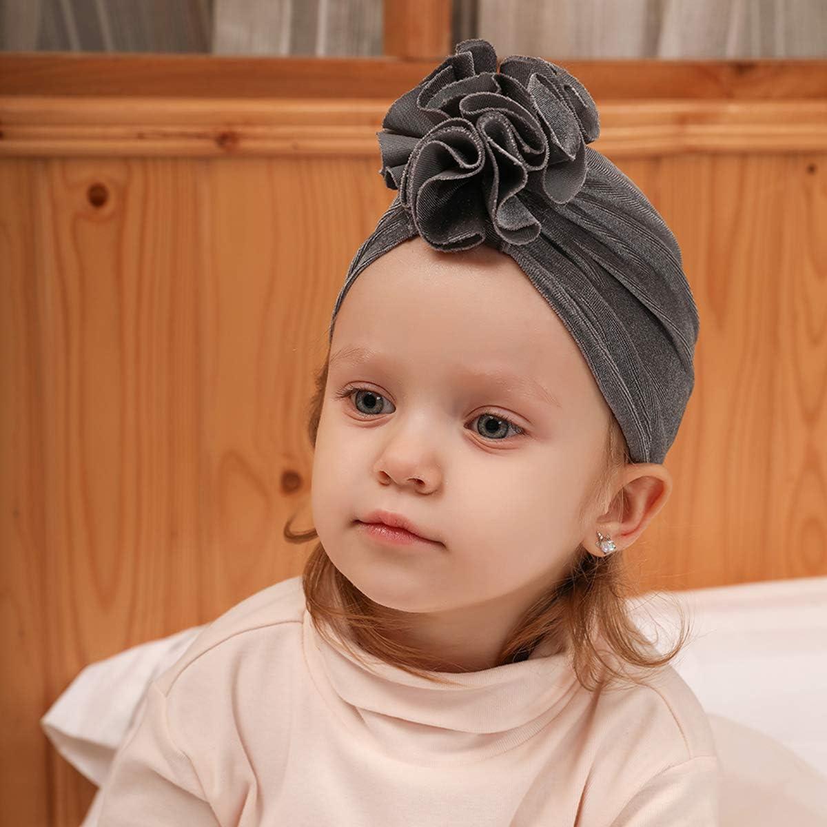puseky Baby Girl Turban Cap Flower Ruffle Velvet Head Wrap Beanie Hat Flower Knot Cap