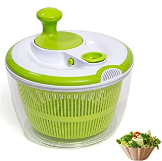 DenSan Crank Handle & Locking Lid Multifunction 4.5 Quart Manual Good Grips Vegetables Dryer Dry Off Drain Quick Filter Lettuce vegetable Salad Spinner(Green)