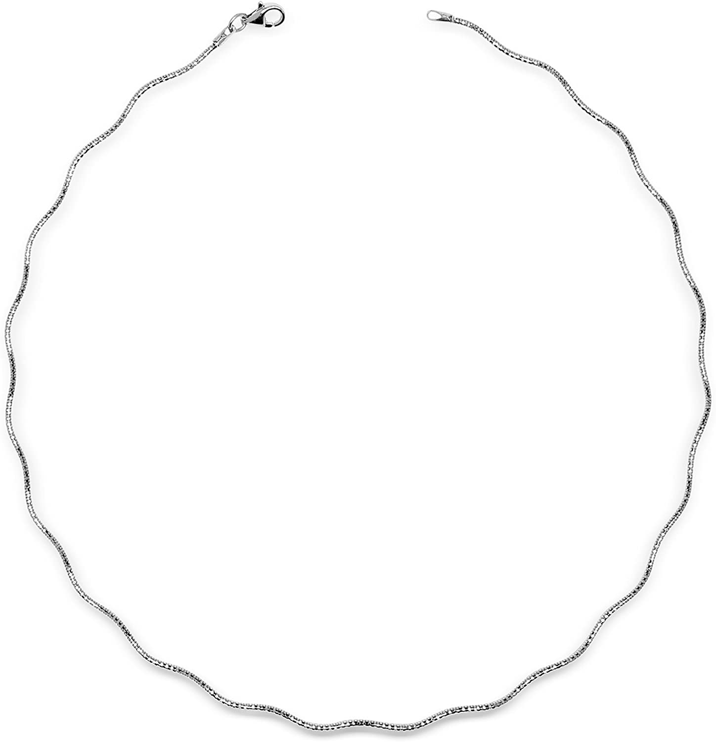 JewelryWeb Italian Sterling Fresno famous Mall Silver 2mm Omega Wavy Wire Tailored