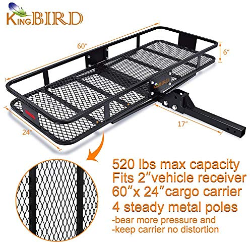 KING BIRD 520 lbs 60 x 24 x 6 Folding Cargo Carrier Hitch Mount Basket Extra-Thick Steel Constructed w/ 2 Advanced Straps Fits to 2 Receiver