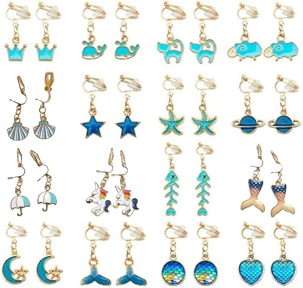 Painless Clip On Earrings Unicorn Flower Cat Flamingo Love Heart Earrings Non Piercing Earrings for Little Girls and Women