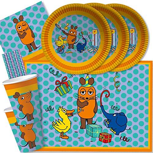 spielum 52-teiliges Party-Set - Die Maus - Teller Becher Servietten Platzsets Trinkhalme für 8 Kinder