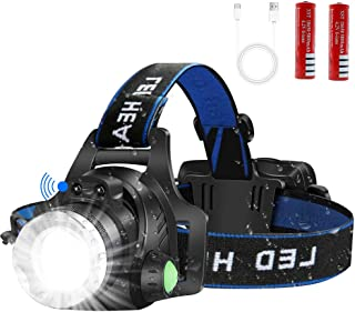 LED Headlamp Flashlight, Motion Sensor USB Rechargeable Led Headlights, Super-Bright Cree T6 LED Waterproof Head Torch With 4 Modes, Induction Adjustable Work Head Lamp for Camping, Fishing, Running