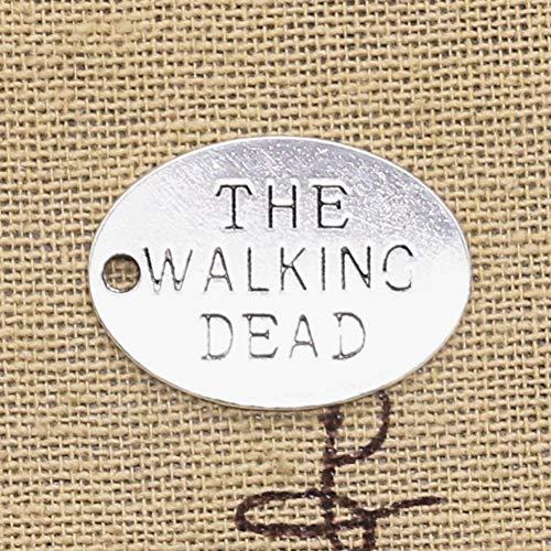 LLBBSS 15 Piezas Encantos Placas The Walking Dead 17X23Mm Colgantes De Color Plata Antigua Diycrafts Haciendo Encontrar Hechos A Mano