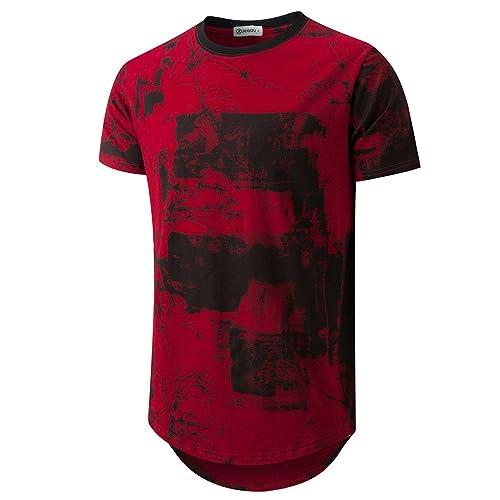 71583da25 KLIEGOU Mens Hipster Hip Hop Ripped Round Hemline Pattern Print T Shirt