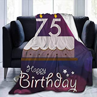 "Soft Bed Blanket 75th Birthday,Abstract Artistic Background with Graphic Design Cake and Candles,Purple Magenta White,60""x80"" For Bed Couch Sofa Lightweight Travelling Camping Throw for kids Adult"