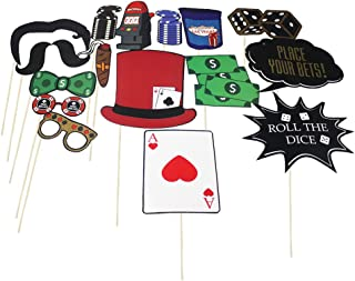 Las Vegas Photo Props (32 Pieces) for Photo Booths, Kids Birthdays, School Parties, get togethers and More! Our Las Vegas Photo Booth Party Favors are Pre-Made (Not DIY) for Your Convenience!