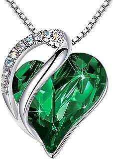 "Leafael [ارائه شده توسط خانم نیویورک Infinity Love Swarovski Crystal Heart Pendant Heart گردنبند ، نقره ای ، 17 ""+2"" ، مجموعه بهار 2017 ، نیکل / سرب / آلرژی رایگان ، جعبه هدیه لوکس"