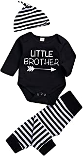 Brothers Matching Shirts Newborn Toddler Baby Boy Big Little Brother Print Romper T-Shirt+Stripe Pants+Hat Outfits Set