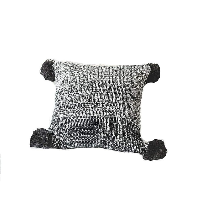 主婦センブランスアルカイッククッションカバー 枕クッションピローケース装飾的な枕カバー1PCニットぬいぐるみボール平方勾配ソファソファベッドルーム18 X 18 Yingcun 装飾枕カバー (色 : ブラック)