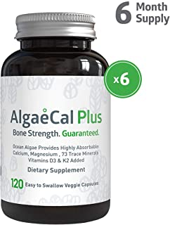 AlgaeCal Plus – Plant-Based Calcium Supplement with Magnesium, Boron, Vitamin K2 + D3 | Increases Bone Strength | All Natural Ingredients | Highly Absorbable | 120 Veggie Capsules per Bottle (6 Pack)