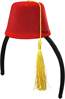 Costume Accessory Mini Fez Hat Headband, Red, One Size