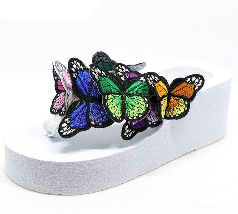 Giles Jones Wedge Flip Flops Sandals for Women,Casual Butterfly Non-Slip Thick Platform Flat Beach Slippers