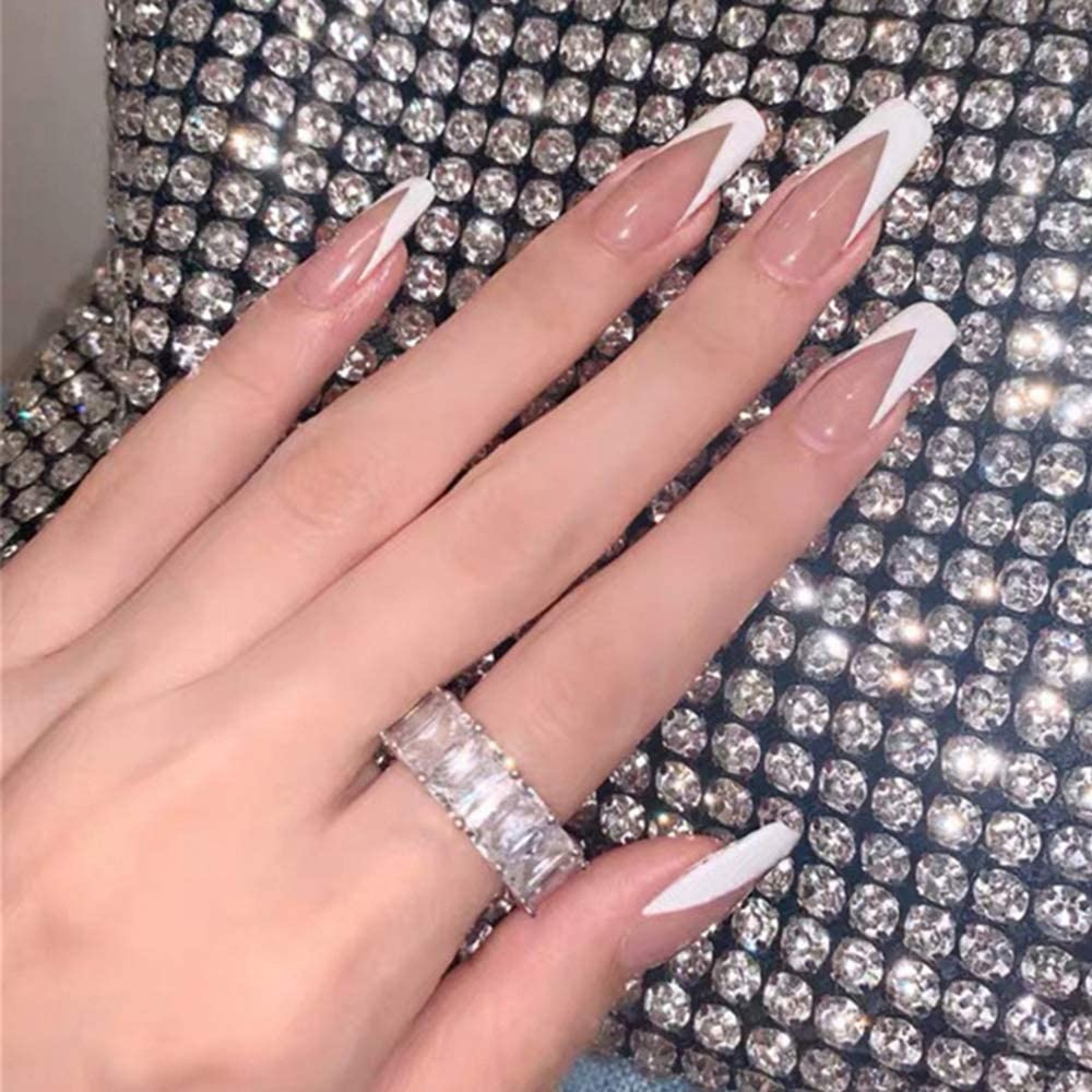 Xerling 24Pcs Transparent Max 66% OFF Nude French Ballerina Fa Acrylic Nails Popular brand
