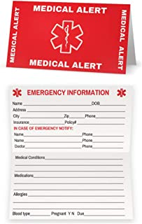 Medical Condition and Emergency Contact ID Wallet Card Folding, Medical Alert Card (5 Pack)