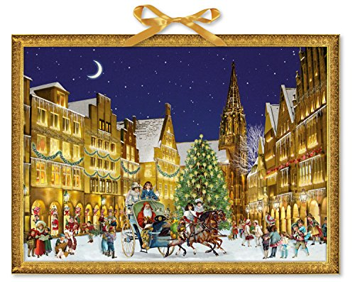 Coppenrath Kerstmis in de stad kerstman en slee enorme traditionele Duitse adventskalender 52 m breed x 38 cm