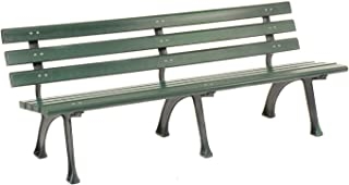 GLOBAL INDUSTRIAL 6'L Park Bench with Backrest, Recylced Plastic, Green