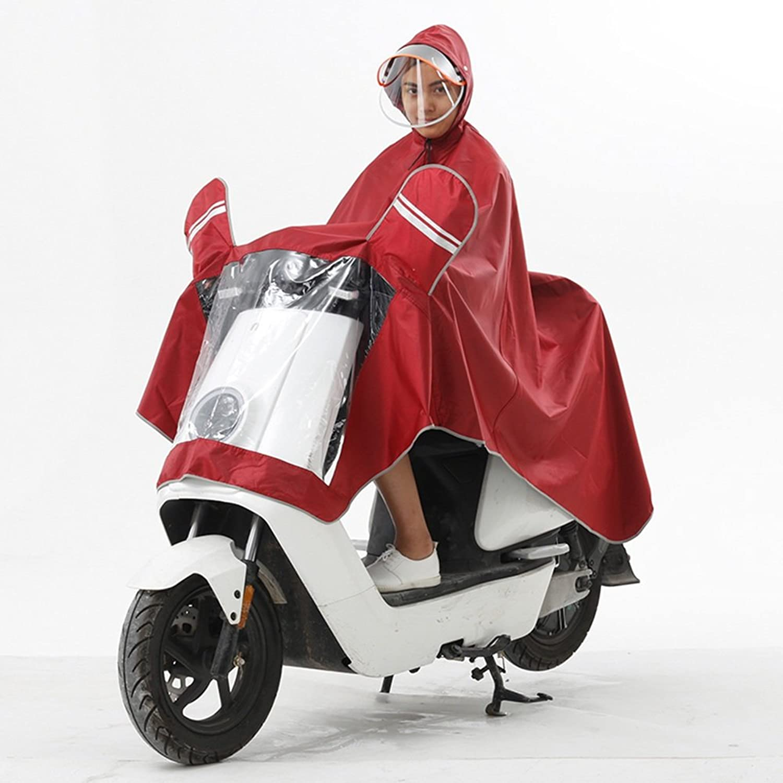 XRXY 電気自動車創造的なジャカードのレインコート/オートバイダブルハット厚いレインコート/不透水防水電気自動車ポンチョ(8色オプション) ( 色 : D , サイズ さいず : XXXL )
