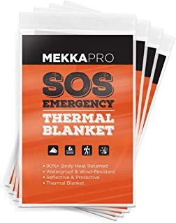 MEKKAPRO Emergency Mylar Thermal Blankets (4-Pack), Pocket Sized for Emergencies, Camping, Outdoors, Hiking, Survival, Fir...