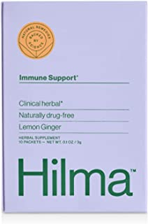 Natural Immune Support Powder Drink Mix by Hilma - Clinically Proven Vitamin C, Zinc, Ginger & Turmeric - D...