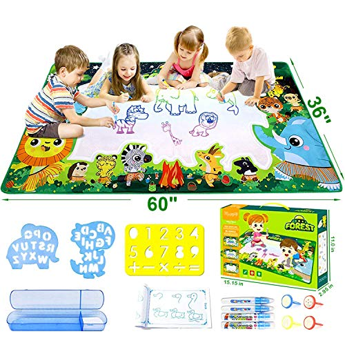 Fancymay Aqua Magic Doodle Mat, 60 X 36 Inches Extra Large for Toddlers, Water Drawing ColoringDoodling Mat, Educational Toys for Age2 3 4 5 6 7 8 9 10 Years Kids Boys Girls