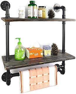 Industrial Pipe Bathroom Shelf 24 Inch Vintage Style, Pipe Shelves with Towel Rack Bar,Rustic Wall Shelf with Towel Racks ...