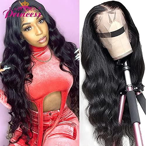 Pelucas de cabello humano frontal de encaje con ondas corporales 13x6 Peluca frontal de encaje con ondas corporales brasileñas para mujeres negras Peluca con cierre de encaje 4x4