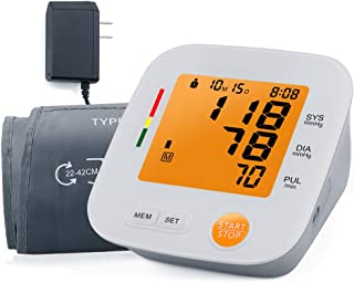 Blood Pressure Monitor Automatic Upper Arm Blood Pressure Cuff 2 User Mode 180 Memory Capacity for Home Travel Use(Orange)