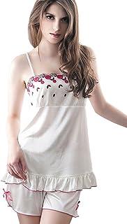 Anna Mu 花柄 刺繍 可愛い ルームウェア キャミソール ショートパンツ ミニ 上下セット 白ピンク