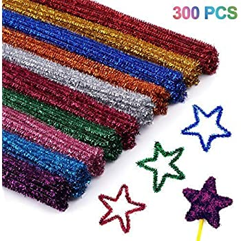 6 mm x 12 inch Neon Fuzzy Sticks Chenille Stems for DIY Art Craft Decorations 400 Pcs Assorted Colors Pipe Cleaners