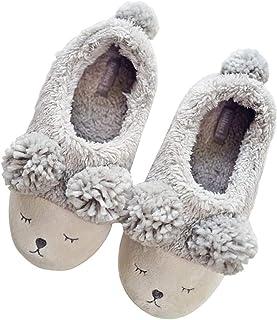 Damen Winter Innen Kuschelig Hausschuhe Thermal Punkt Weich Unten Flach Socken