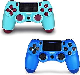 Controlador de 2 paquetes para PS4, controlador inalámbrico para Playstation 4 con joystick de juego de doble vibración (Berry + Blue)