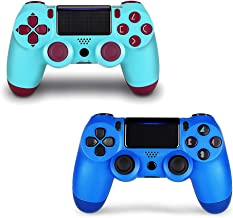 2 Pack Controller for PS4,Wireless Controller for Playstation 4 with Dual Vibration Game Joystick (Berry+Blue)