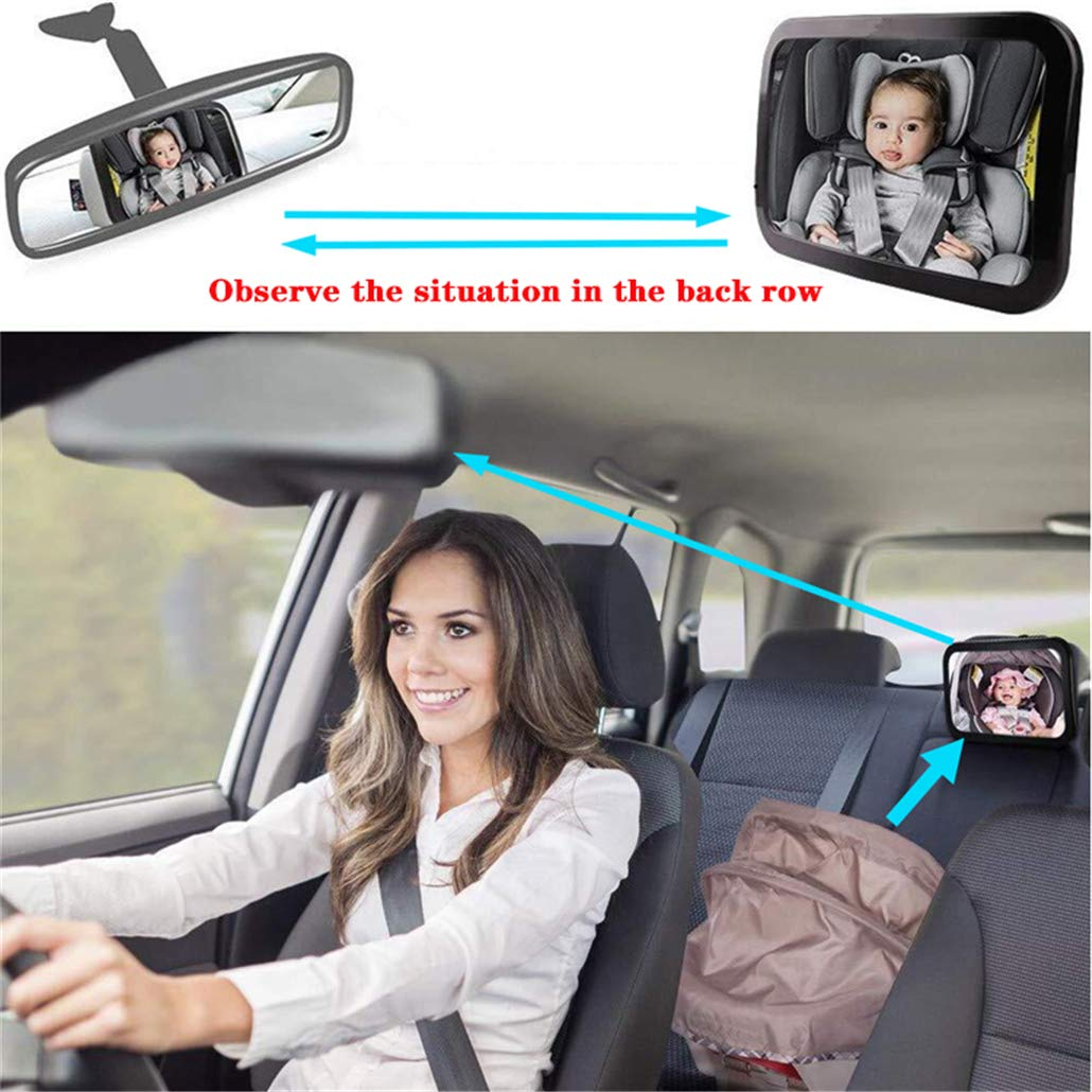 JHTY Car Baby Safety Rear View Mirror Baby Rear View Mirror, 360° Free Rotation
