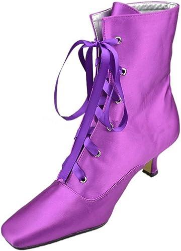 Qiusa botas de Vestir para mujer con Cordones de tacón bajo y satén para mujer (Color   púrpura-5cm Heel, tamaño   4 UK)