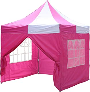 Delta 10'x10' Pop up 4 Wall Canopy Party Tent Gazebo Ez Pink White - F Model Upgraded Frame Canopies