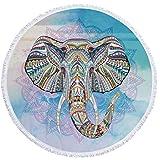 Toalla De Playa Redonda De Gran Tamaño Manta Gruesa,Tejido Microfibra con Borlas Fringe Púrpura Elefante Mandala Hollow Novedad Animal Impresión De Patrón para La Playa Esterilla De Yoga De 60 Pul