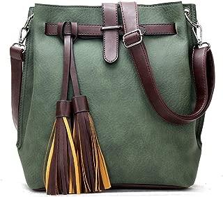 Oil Wax Skin Boston One Shoulder Slung Mobile Female Bag Locomotive Big Bag Handbag Female Bag Handbags (Color : Green)