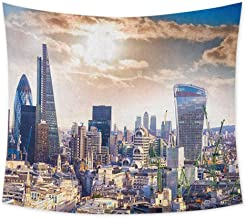 jecycleus City Wall Blankets for Bedroom Modern District London Aerial Image Famous Architecture Dramatic Sky in England Cute Tapestry Wall Hanging Art W55 x L55 Inch Ivory Blue White