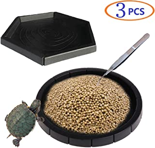Tfwadmx Reptile Feeding Dish, Turtle Feeder Food Bowl Water Container with Tongs for Bearded Dragon Snake Lizard