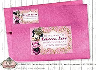 10 PRINCESS MINNIE MOUSE Pink Gold and White Birthday Party RETURN & GUEST Address Labels for your Invitation Envelopes