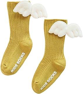 newwyt, Calcetines altos para bebé recién nacido, lindos calcetines 3D con alas de ángel, antideslizantes, de algodón